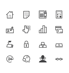bank black icon set on white back ground vector image