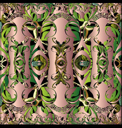 Baroque floral 3d seamless pattern green vector