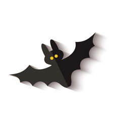 black flying bat icon with yellow dot eyes and vector image