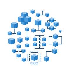 blockchain technology round blue vector image