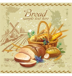 Breads in basket against country landscape vector