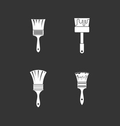brush icon set grey vector image