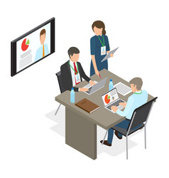 Business people at table deciding working issues vector