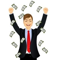 Businessman happy seeing raining money bills vector