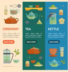 cartoon tea ceremony banner vecrtical set vector image