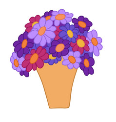 Cartoon violet and red flowers in simple yellow vector