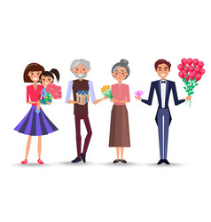 characters celebrate international womens day vector image