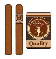cigar label template set flat vector image