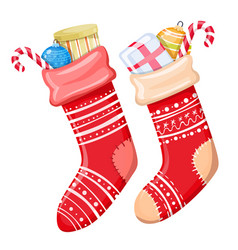 colorful christmas socks vector image