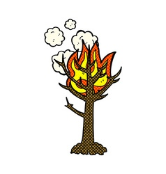 Comic cartoon burning tree vector