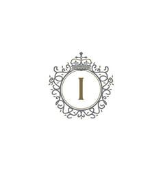 crown leaf logo initial i vector image