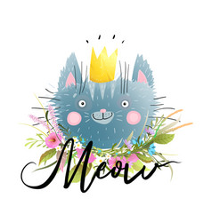 cute cat in golden crown with meow hand lettering vector image