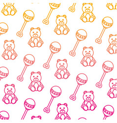 Degraded line rattle and teddy bear toys vector
