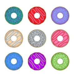 Donut icon set colorful vector