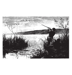 Duck shooting vintage vector