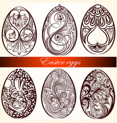 easter eggs set from swirls vector image
