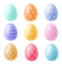 easter eggs with patten in pastel colors vector image