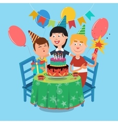 Family Birthday Party Happy Family Celebrating vector