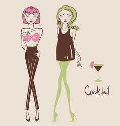 Fashion girls hand drawn vector