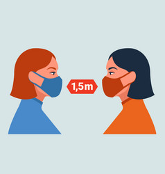 female characters in masks social distancing vector image