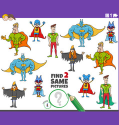 Find two same super heroes characters educational vector