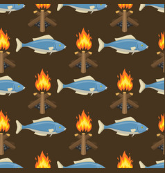 fire bonfire seamless pattern burn flame vector image