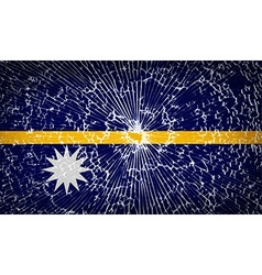 Flags Nauru with broken glass texture vector