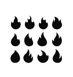 flame silhouettes isolated on white background set vector image