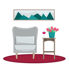 flat the interior of the living room armchair vector image