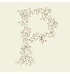 floral font letter p vector image