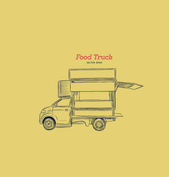 food truck carnival hand draw sketch style vector image