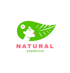 girl logo natural cosmetics vector image