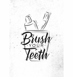 glass with toothpaste and brush graphics vector image