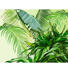 Green leaves of tropical plants vector