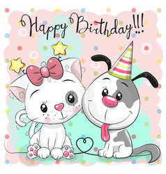 greeting birthday card with cute cat and dog vector image