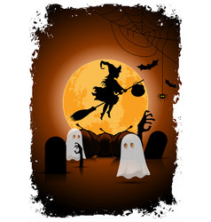 Halloween background with witch and ghosts vector
