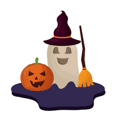 halloween pumpkin with hat of witch and icons vector image