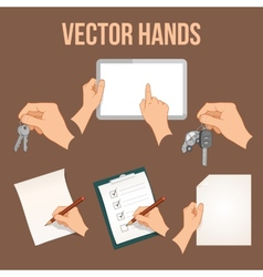 Hands holding objects set vector image