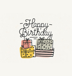 happy birthday lettering or wish written vector image