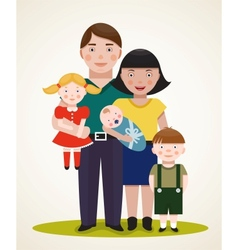 Happy Family Parents with Three Children vector