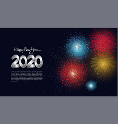 Happy new year 2020 silver number with firework vector