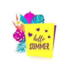 hello summer cartoon speech bubble with realistic vector image