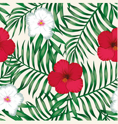 hibiscus red white green palm leaves seamless vector image