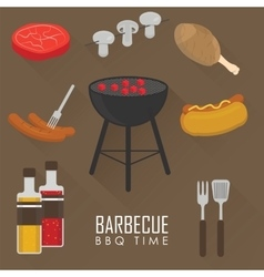 Icons set of Barbecue Grill vector