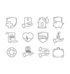 insurance thin icons business protection auto vector image