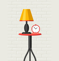 Interior home decor table lamp and clock vector