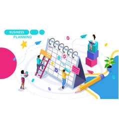 isometric concept of business planning drawing vector image
