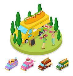 Isometric street food hot dog truck with people vector