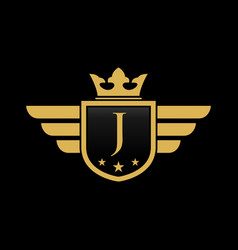 letter j initial wing with shield and crown vector image