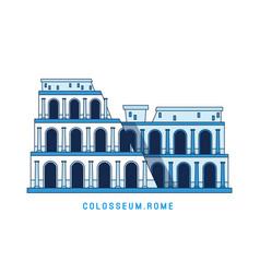 Line art colosseum rome italy european famous vector